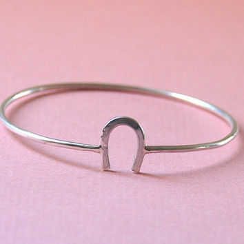 Lucky Lucky Lucky Sterling Silver Horseshoes Bangle Braceled