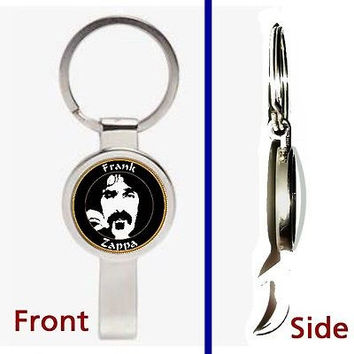 Frank Zappa Pennant or Keychain silver tone secret bottle opener