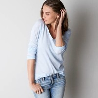 AEO LONG SLEEVE V-NECK T-SHIRT