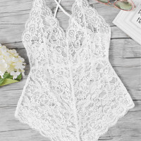 Scalloped Trim Criss Cross Lace BodysuitFor Women-romwe