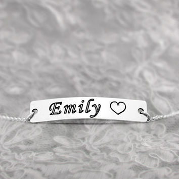 925 Sterling Silver Name and Heart  Bracelet- 10 dollars off