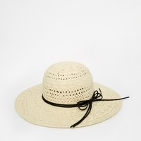ASOS Straw Floppy Hat With Thin Bow Trim at asos.com