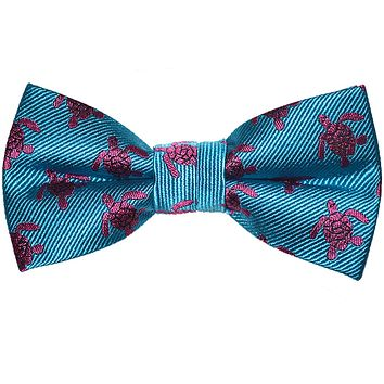 Turtle Bow Tie - Pink on Blue, Woven Silk, Pre-Tied for Kids