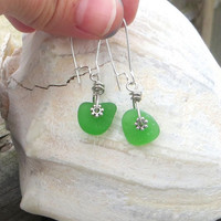 Green Sea Glass Earrings Dangling