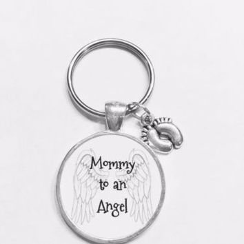 Guardian Angel Mommy To An Angel Baby Feet Sympathy Gift Child Loss Keychain