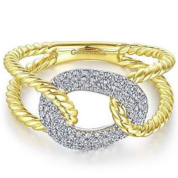 Gabriel Twisted Open Shank Pave Two Tone Diamond Ring