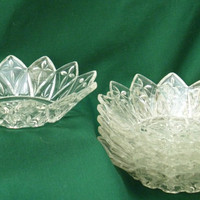 Federal Glass Salad Dessert Bowls Set Six Pedal Pattern 2829