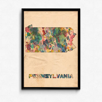 Pennsylvania Map Poster Watercolor Print - Fine Art Digital Painting, Multiple Sizes - 12x18 to 24x36 - Vintage Paper Colors Style