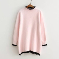 Pink Contrast Lace Long Knit Sweater-5Colors