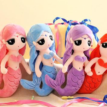 30cm/40cm/50cm Beautiful Cute Soft Stuff Plush Little Mermaid Dolls with Curved Tail Gifts Toys For Children Girls