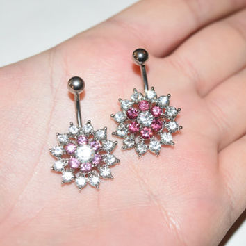 Belly Rings, Belly Ring, Crystal Belly Button rings, Belly Button Ring Belly Button Rings, Flower Belly Ring, Navel Rings, Navel Piercing