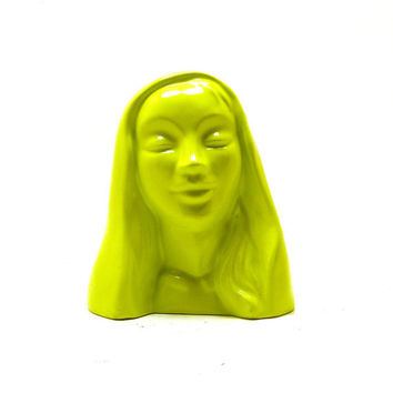 virgin mary statue, mod, religious, lime green, bright, neon home decor, upcycled figurines, kitsch, ceramic figurine, head bust, madonna