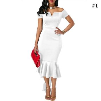 Women Fashion Strapless Off Shoulder Bodycon Dress Party Evening Cocktail Maxi Long Backless Dress