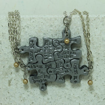 Puzzle Necklace Bridesmaid Best Friend Jewelry Set of 4 Thank you for Standing beside me