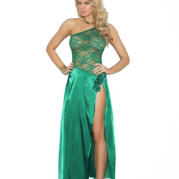Jade Green Charmeuse and lace gown.