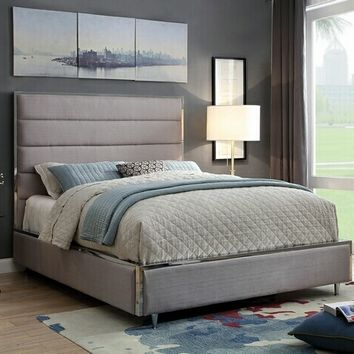 GIllian collection warm gray padded linen like fabric upholstered and tufted queen bed frame set