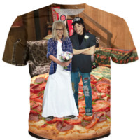 Wayne's world wedding on a pizza