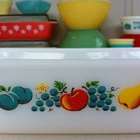 Pyrex Fire-King fruit pattern loaf pan!! Cute, vintage, baking dish! ReTrO KiTcHeN!