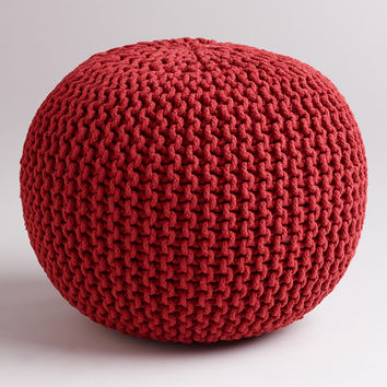 Chili Pepper Knitted Pouf - World Market