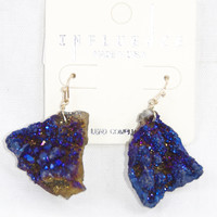 Cracked Stone Dangle Earrings in Blue
