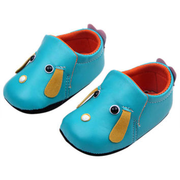Cute Baby Kids PU Leather Toddler Crib Shoes Puppy Pattern Shoes Prewalker 0-12M NW