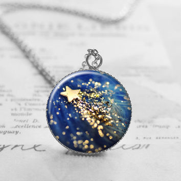 Shooting Star Necklace, Starry Night Sky Jewelry, Star Pendant Charm, Gift for Her, Star Space Jewelry, N104