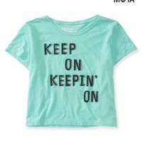 Aeropostale Womens Keepin' On Crop Graphic T-Shirt - Blue,
