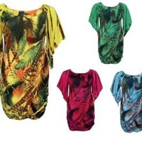 YUMMY PLUS YD-594 sublimation WOMANS PLUS SIZE DRESS WITH DIAMOND SLEEVE