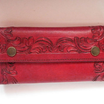 Stunning Rich Reddish Brown Artisan Hand Tooled Thick Full Grain Leather Wallet