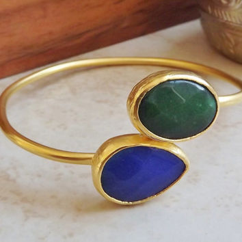 Emerald Green Blue Jade Gemstone Stackable Bangle Bracelet - 22k Matte Gold Plated