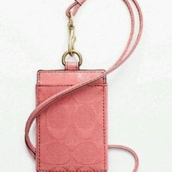 "COACH Signature ""C"" Lanyard ID Badge Holder in Coral 63681"