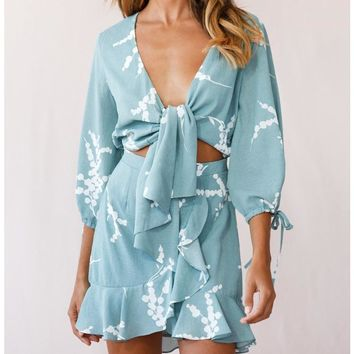 Sexy Women Bow Print Flounce Dress