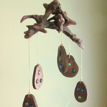 Driftwood Mobile with Sun Catchers, Window Hanging Driftwood, Driftwood Suncatcher, Driftwood Art, Driftwood Decor