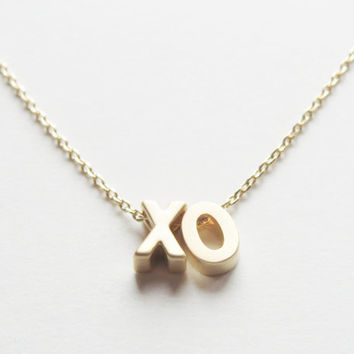 "Gold Word Necklace. Gold initial Necklace. ""Love Necklace"". Beyonce ""XO"" necklace. ""Happy"" necklace"