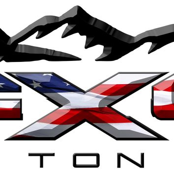 FX4 Triton V8 Mountains American Flag 3D Vinyl Decal Fits All Makes and Models