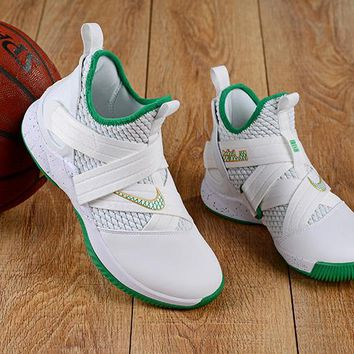 """NIKE LeBron Soldier 12 """"White&Green"""" Basketball Shoes"""