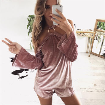 Strapless Long Sleeve Tops And Bottoms [9753217295]