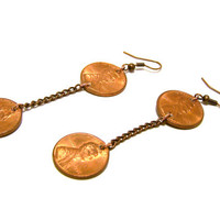 Handcrafted USD Penny and Copper Chain Earrings