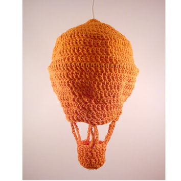 Pendant lamp BALLOON Hanging light Crochet lamp Crochet light Home decor Orange Linen Gift idea Recycling