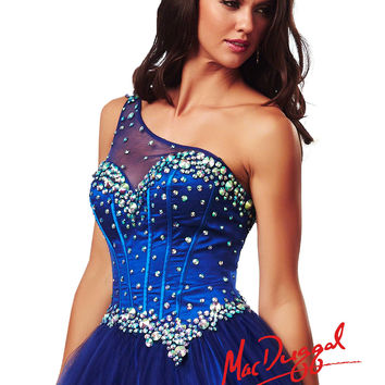 Mac Duggal 2014 Prom Dresses - Electric Blue Rhinestone One Shoulder Tulle Corset Gown