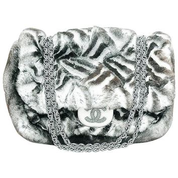 Chanel Limited Edition Black & White Chinchilla Fur Handbag