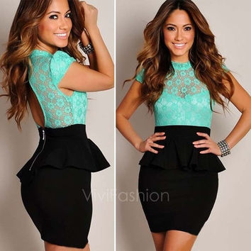 Women's Sexy Floral Lace Black Peplum Party Cocktail Dress Tunic Bodycon Dresses VVF = 1931469828