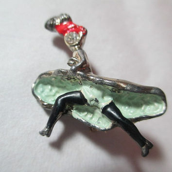 Vintage Dancer Can-Can Pin Enamel Rhinestone 1960s Colorful Figural