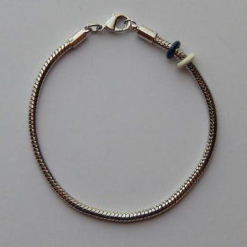 Add a Bead Bracelet - 7.75 Inch Silver Color Metal, Snake Chain, European Style, One Piece