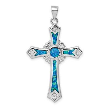 Sterling Silver Blue Opal and CZ Cross Pendant