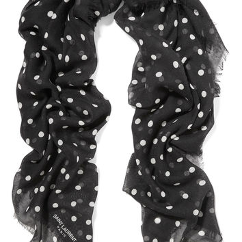Saint Laurent - Polka-dot cashmere and silk-blend scarf