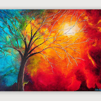 Abstract Giclee Print, Art Print, Modern, Teal, Turquoise, Red, Orange, Tree, Large Wall Art on Canvas from Original Painting by Julia Bars