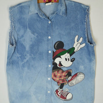 90's Mickey Mouse Denim Shirt Sleeveless Soft Grunge Disney Acid Wash Ombre Dip Dye Women's Vintage Clothing 1990's Medium Large Oversize