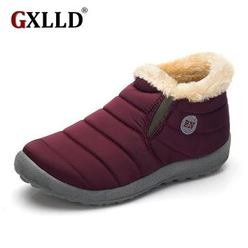 Size35-45 Waterproof Women Winter Shoes Couple Unisex Snow Boots Warm Fur Inside Antiskid Bottom Keep Warm Mother Casual Boots