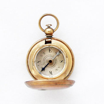 Rare Petit Hunter Type Compass / Antique French Pocket Compass